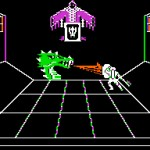An in-game shot from Wings Out of Shadow for the Apple II