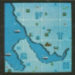 Very much the map that appeared in the final game, but the dimensions are taller and there are top and bottom areas which were trimmed in the final game.  No panels on the left either.