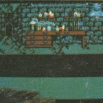Probably the most interesting of the images.  There is a clear doorway on the left, which probably took you elsewhere in the game.  There is a Frankenstein's monster on the right, though looking pretty human.  Then there are chemistry bottles and drawers in the dungeon like area.  Did Frankie have a different story to be played out at some point?